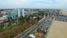 Aerial video of Santa Monica Beach stock video footage