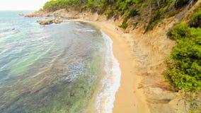 Aerial Drone View Mediterranean Unspoiled Virgin Beach. Aerial video shot in a typical Mediterranean beach stock footage
