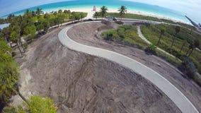 Aerial video South Pointe Park Miami Beach. 4k aerial video of South Pointe Park Miami Beach FL stock footage