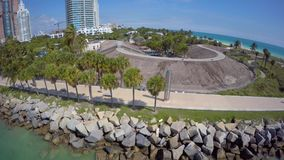 Aerial video South Pointe Park Miami Beach stock video footage