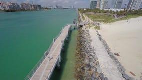 Aerial video South Pointe Park pier stock video