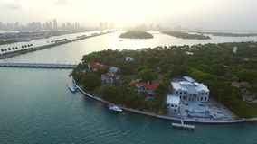 Aerial video of Star Island Miami Beach stock footage