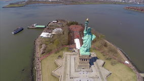 Aerial video Statue of Liberty Stock Photography