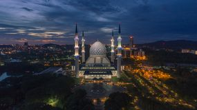Aerial Video of Sultan Salahuddin Abdul Aziz Shah Mosque. SHAH ALAM, MALAYSIA - 8 JANUARY 2018 - An aerial photo of Blue Mosque, Shah Alam, Malaysia. Blue Mosque Royalty Free Stock Image