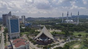 Aerial Video of Sultan Salahuddin Abdul Aziz Shah Mosque. SHAH ALAM, MALAYSIA - 8 JANUARY 2018 - An aerial photo of Blue Mosque, Shah Alam, Malaysia. Blue Mosque Royalty Free Stock Photos