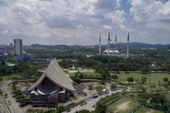 Aerial Video of Sultan Salahuddin Abdul Aziz Shah Mosque. SHAH ALAM, MALAYSIA - 8 JANUARY 2018 - An aerial photo of Blue Mosque, Shah Alam, Malaysia. Blue Mosque Stock Image