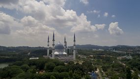 Aerial Video of Sultan Salahuddin Abdul Aziz Shah Mosque. SHAH ALAM, MALAYSIA - 8 JANUARY 2018 - An aerial photo of Blue Mosque, Shah Alam, Malaysia. Blue Mosque Stock Photography