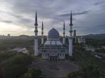 Aerial Video of Sultan Salahuddin Abdul Aziz Shah Mosque. SHAH ALAM, MALAYSIA - 8 JANUARY 2018 - An aerial photo of Blue Mosque, Shah Alam, Malaysia. Blue Mosque Royalty Free Stock Photo