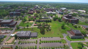 Aerial video tour college university campus. Aerial drone tour of a college in Tallahassee FL USA stock video