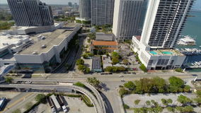 Aerial video of the Venetian Downtown Miami stock video footage