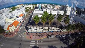 Aerial video Washington Avenue Miami Beach stock video footage