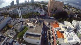 Aerial video Washington Avenue Miami Beach stock footage