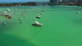 Aerial video yachts in Miami stock video footage