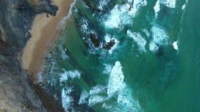 aerial Videogefangennahmenbrummen stützt Costa Vicentina, Sagres unter portugal stock footage