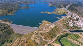 Aerial. Videography of drone, reservoir dam Odeleite. Portugal. Aerial. Videography of the drone, reservoir dam Odeleite. Portugal Stock Images