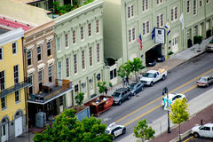 Aerial viel of colorful buildings in New Orleans Royalty Free Stock Photos