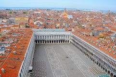 Aerial Viem to Venice. Aerial View to San Marco square and the Venice City, Italy Royalty Free Stock Photos