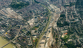 Aerial of Vienna with river Danube Stock Photos