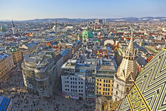 Aerial of Vienna in winter Royalty Free Stock Images