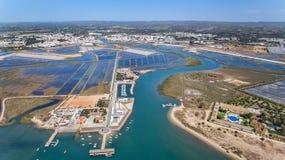 aerial Vier Wasser, ein Fluss auf Tavira-Insel Quatro-Aguas Stockbilder