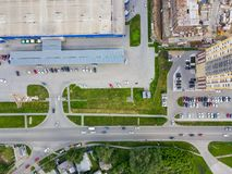 Aerial vieve fragment of parking in front of shopping center wit royalty free stock image
