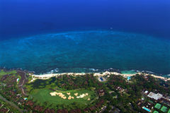 Aerial view. A coral beach aerial view - you can see a view hotels at the beach royalty free stock images