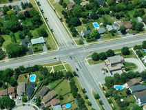 Aerial view. Of residential area in typical suburb home community in Ontario, Canada Stock Photos