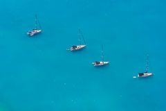Aerial view of 4 sailing boats Stock Photo