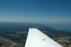 Aerial view. Of landscape from light plane Stock Photography