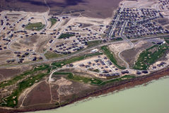 Aerial View. An aerial view of a neighborhood next to a lake Royalty Free Stock Image