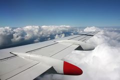 Aerial view. From airplane with wing and panoramic landscape royalty free stock image