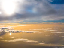 Aerial View. The clouds reflect the sunlight and make it looks like sea water Stock Photography
