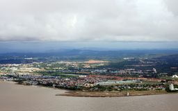 Aerial View. Cityscape aerial view of Bintulu Town, Sarawak, Malaysia royalty free stock image