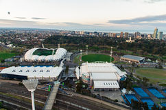 Aerial view of AAMI Park and Hisense Arena Royalty Free Stock Photos