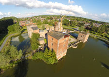 Aerial view on abandoned Havre Castle. Wallonia, Belgium Stock Images