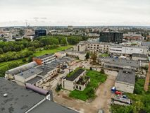 Aerial view abandoned industrial buildings in Kaunas, Lithuania. Aerial view of abandoned industrial buildings in Kaunas Kalnieciai district, Lithuania stock photo