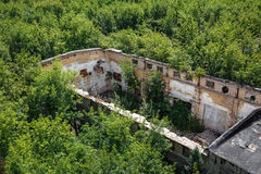 Aerial view of abandoned industrial warehouse. Among forest Stock Image