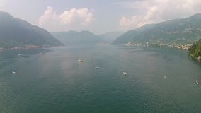 Aerial view above big beautiful lake, Como lake, Italy. italia stock video footage