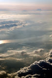 Aerial view above a blanket of clouds Royalty Free Stock Photos