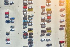 Aerial view from above - car parking in a residential area of the city.  royalty free stock images