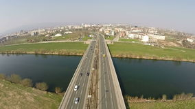 Aerial view above the city bridge over the river. In Zagreb, Croatia stock footage