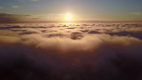 Aerial view above the clouds stock video