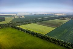 Aerial view above the fields Royalty Free Stock Photos