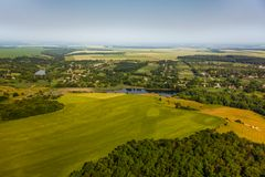 Aerial view above the fields Stock Image