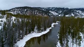 Aerial view above an Idaho forest in winter with a river. Above a river in winter with a forest leading to a lake stock video