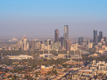 Aerial view above Melbourne`s city skyline royalty free stock image