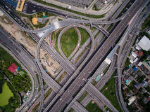 Aerial view above Motorway & Ring roads Royalty Free Stock Image