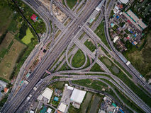 Aerial view above Motorway & Ring roads Stock Photo
