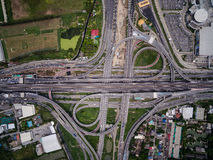 Aerial view above Motorway & Ring roads Stock Image