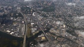 Aerial View Above New York City Area. 9393 An aerial view above the New York City's Eastchester district stock video
